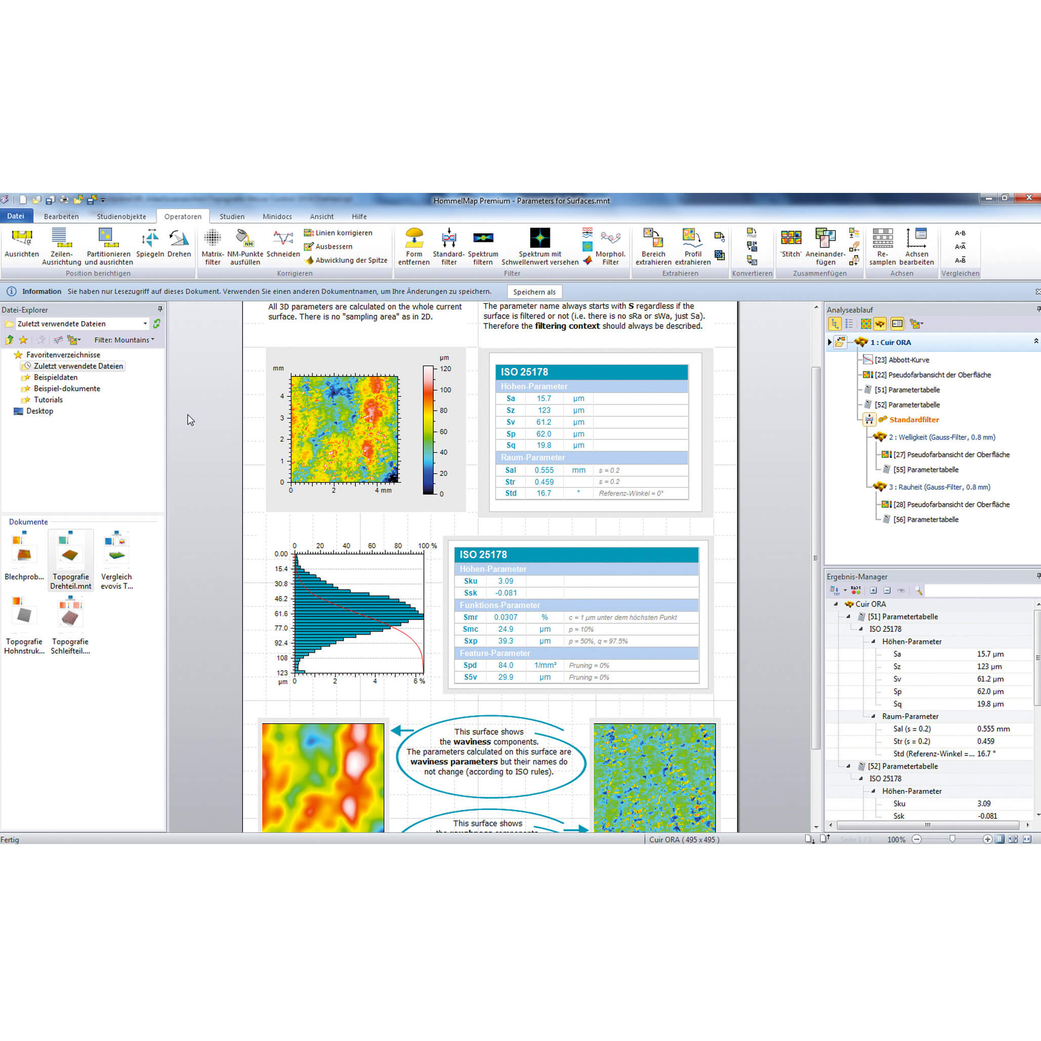 Evovis roughness and contour metrology software reporting
