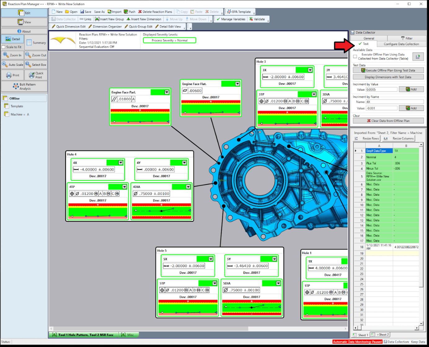 reaction plan manager machine tool correction